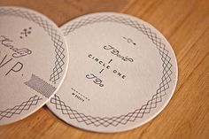 Check out these great coaster wedding invitations and saved the dates designed by Ross ClodfelterforBrittany Brown & William Goncharow.  via www.designworklife.com