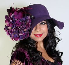 """Bohemian """"Purple Rain"""" floppy hat with dome top in wool felt beautiful hand embellished feathers and silk hydrangea detail. 2015 Color Trends, Vintage Bohemian, Boho, Festival Fashion, Festival Style, Rose Colored Glasses, Royal Look, Wide Brimmed Hats, Purple Haze"""