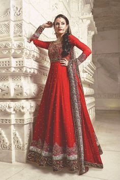 Z Fashion Trend: EMBROIDERED RED COLOUR BRIDAL DRESS