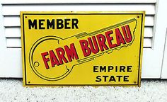 Vintage 50s Old Farm Bureau New York Key State Metal Sign Empire State Embossed