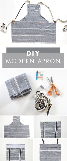 If you rule the kitchen in your homeor are looking for a thoughtful gift idea for the person who doesyou have to check out this handmade apron. It makes a wonderful sewing project for fall as well! This DIY Modern Apron is truly meant for a chef. Sewing Hacks, Sewing Tutorials, Sewing Crafts, Sewing Patterns, Sewing Ideas, Modern Sewing Projects, Apron Patterns, Tutorial Sewing, Sewing Tips