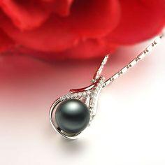 GVBORI Tahiti Black Pearls Necklace Pendant [Full of love in your heart] Diamond&Pearl Pendant Fine Jewelry Christmas