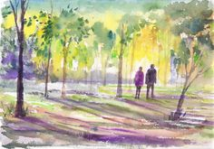 Walk through the Misty Woods Shadows Watercolors Original Art Wall Art Wall Decor Impressionistic watercolors Figures Small painting by ArtbyAshaa on Etsy