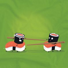 laurent batel tshirt illustrations sushi