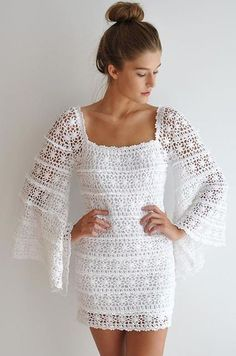 Vintage lace inspired mini dress with long bell shaped sleeves. Crochet Clothes, Diy Clothes, Clothes For Women, Crochet Dresses, Crochet Motifs, Crochet Lace, Vestidos Estilo Boho, Bell Sleeve Dress, Bell Sleeves