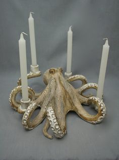 Nautical Ceramic Octopus Candelabra by Shayne Greco Beautiful Shabby Chic Mediterranean Sculpture Pottery