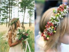 Aquí te muestro varios modelos originales y modernos de coronas de flores para novias. Además te mostraré imágenes de coronas de flores silvestres y frutos.