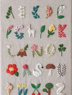 Crochet Patterns Needles Beautiful embroidery alphabet with flowers, llama, swan and many beautiful books …If you are seeking some wonderful cross stitch fonts ideas, this is the web page you should learn how you can make your own saucy sewed expre Simple Embroidery Designs, Embroidery Stitches Tutorial, Embroidery Flowers Pattern, Embroidery Hoop Art, Embroidery Ideas, Embroidery Alphabet, Embroidery Techniques, Ribbon Embroidery, Knitting Stitches