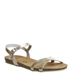 Office, Safari Cross Strap Sandals, Gold Leather