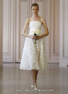 kurze Spitze Hochzeitskleid 2016 Foto — Oscar de la Renta  Alle Brautkleider Kurz Spitze http://de.lady-vishenka.com/short-lace-wedding-dress-2016/