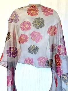 Items similar to Hand Painted Silk Shawl Scarf, Black Roses Grey Large Silk Scarf, Silk Chiffon Scarf, inches. Made to order. on Etsy Silk Neck Scarf, Silk Shawl, Chiffon Scarf, Wool Scarf, Silk Chiffon, Hand Painted Sarees, Silk Painting, Saree Painting, Acrylic Paintings
