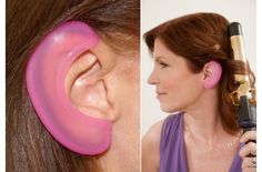 Why didn't I think of these? Clever girl innovations to keep your ears from getting burned silicone protectors. Plus you look like a cool pink elf.