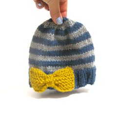 Hand+knit+baby+hat+stripes+with+yellow+bow+grey+by+TomboDesigns,+$26.00