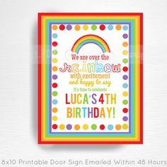 Rainbow Birthday Party Door Welcome Sign YOU PRINT Girl Rainbow Party Decorations
