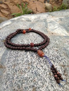 Bone and Yak Horn Buddhist Mala Prayer Bead Necklace on Etsy, $20.00
