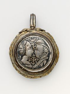 Pendant (one of a pair) | Date: second half 15th century | Culture: probably Northern Italian | Medium: Silver, niello, and gilt silver | Dimensions: Diam: 1 1/8 in. (2.9 cm) | Accession Number: 17.190.965