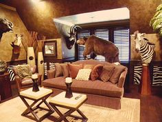 Trophy room/Man Cave!! Def having this for my hubby so all the deer won't be hung in the living room!