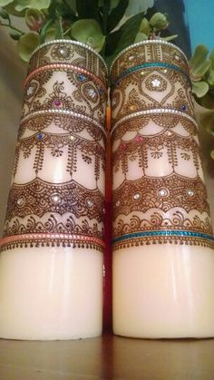 Intricate matching henna candles