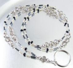 Faceted Black Diamond Crystal Glass Beaded ID Lanyard, Badge Holder, ID Badge Necklace by mmojewelry on Etsy