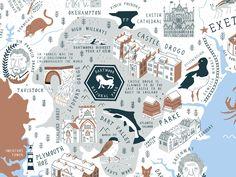 Devon Map, Copenhagen Map, Map Design, City Maps, History, Creative, Illustration, Map Of Copenhagen, Historia