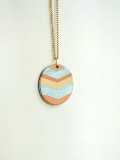 Leather chevron  necklace in mint peach and by OhBIJOUXpt on Etsy, $30.00