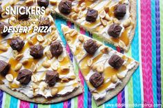 Diddles and Dumplings: Snickers Bites Cheesecake Dessert Pizza Recipe #GameDayBites