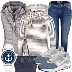 AnchorGirl Ladies Outfit - Complete Leisure Suitfit acquista a buon mercato Komplette Outfits, Teen Girl Outfits, Jean Outfits, Fall Outfits, Casual Outfits, Fashion Outfits, Jeans Und Sneakers, Estilo Jeans, Summer Outfits For Teens