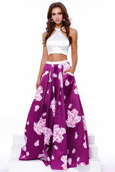 Magenta Two Piece Set Prom Dress with Floral Skirt.  https://www.smcfashion.com/wholesale-prom-dresses/prom-dress-nx8245