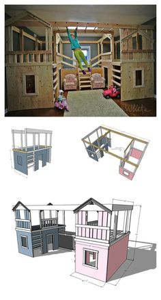 Ana White Build a DIY Basement Indoor Playground with Monkey Bars Free and Easy DIY Project and Furniture Plans Ana White, Indoor Playhouse, Build A Playhouse, Indoor Playset, Playset Diy, Indoor Playroom, Furniture Plans, Diy Furniture, Barbie Furniture