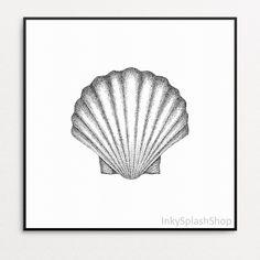 Seashell printable wall art Black & white Scallop shell drawing print Nautical bathroom Beach home decor Stippling artwork Ocean art poster Nautical Bathroom Decor, Bohemian Bathroom, Bathroom Beach, Detailliertes Tattoo, Drawing Sketches, Art Drawings, Shell Drawing, Stippling Art, Ocean Art