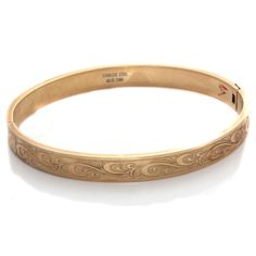 "Steel by Design Goldtone Stainless steel 8"" Scroll Design Bangle  #SteelbyDesign #Bangle"