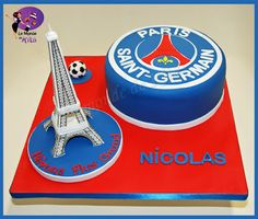 Psg, Soccer Birthday Cakes, Barcelona Futbol Club, Paris Saint, Saint Germain, Cake Decorating, Birthdays, Food And Drink, Desserts
