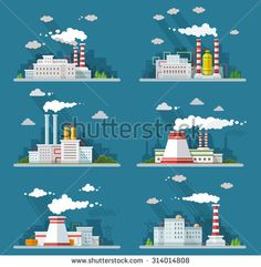 Industrial landscape set. The nuclear power plant and factory on the background…