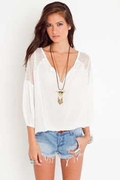 blouse with sheer lace shoulder panels