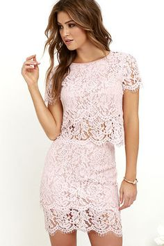 You'll fondly reminisce on all the good times you've had (and will have!) in the Turn Back Time Blush Pink Lace Two-Piece Dress! Blush pink eyelash lace overlay shapes a cute crop top with a round neckline and short sleeves. A second layer of lace drops below the scalloped hem to create a sheer, tiered look. Matching skirt finishes off the set with its figure-accentuating fit and tiered mini-length hem. Top has keyhole and button closure at back. Skirt has hidden back zipper/clasp. Small top…