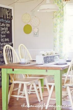 I love the box on the table painted with chalkboard paint on the side! fROM House of belonging blog.