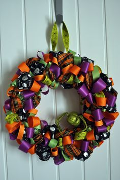 Colorful Halloween Ribbon Wreath