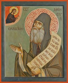 Saint Silouan the Athonite was born in 1866 in the Russian Empire to a peasant family. Near village where Saint Silouan was born, there. Orthodox Catholic, Russian Orthodox, Byzantine Art, Byzantine Icons, Religious Icons, Religious Art, Greek Mythology Art, Roman Mythology, Paint Icon