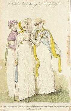 La Belle Assemblee, Spring Walking Dresses, June 1808.  Such lovely girls!