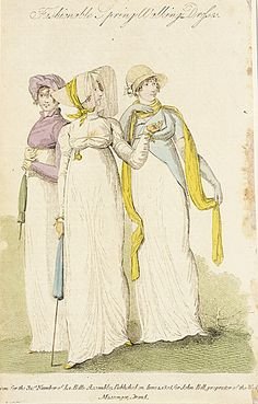 La Belle Assemblee, Spring Walking Dresses, June 1808. I love all the brightly colored accessories!