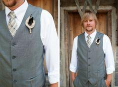 groom grey waistcoat, patterned tie, pocket watch, no jacket, sleeves rolled up - love
