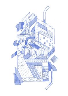 Drawing ARCHITECTURE          | Thibaut Rassat, 'Stacked city', 2015, ink, digital #architecturaldrawings