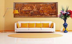 270x105 cm Ramayana Teakholz Bass-Relief Hand geschnitztem