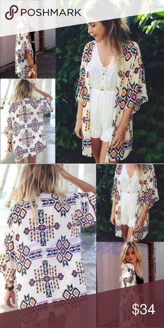 Boho print kimono NWT Super cute boho print kimono. Great over a top or dress. Also works as an amazing beach cover up. Lace, polyester, chiffon sheer blend.  One size- fits most. Similar to a Lularoe Lindsay kimono. WILA Tops