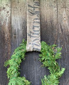 Rustic Farmhouse, Farmhouse Style, Grain Sack, Sacks, Wreaths, Christmas, Nature, Xmas, Country Style