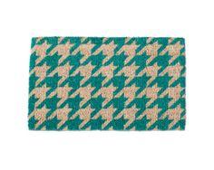 houndstooth green coir mat