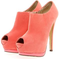 Ola Coral Peeptoe Shoe Boots ($40) ❤ liked on Polyvore