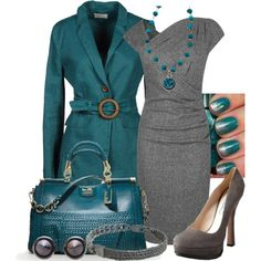 Teal and gray. Cute work outfit to wear to a job I don't hate.
