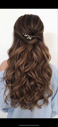 Wedding Hairstyles For Long Hair, Bride Hairstyles, Hairstyle Ideas, Gorgeous Hairstyles, Retro Hairstyles, Simple Hairstyle For Party, Bridesmaids Hairstyles Down, Long Hair Bridal Hairstyles, Easy Hairstyles