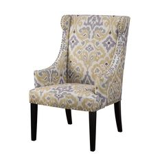 Marcel Yellow And Gray High Back Wing Chair Madison Park Arm Chairs Accent Chairs Chair Bed, Wing Chair, Wingback Chair, Yellow Accent Chairs, Yellow Accents, High Back Accent Chairs, Chair Upholstery, Chair Cushions, Upholstered Chairs